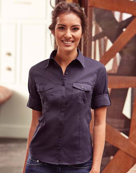 RUSSELL Ladies Roll 3/4 Sleeve Shirt