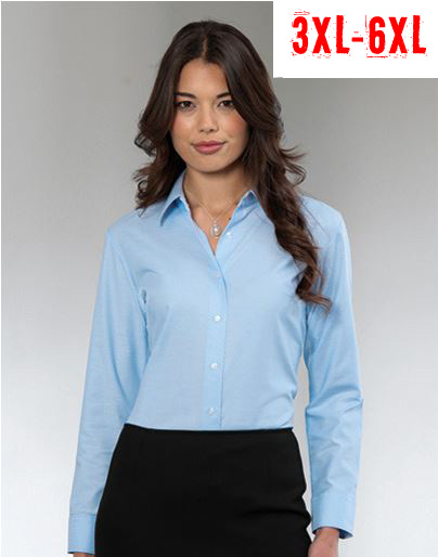 RUSSELL Ladies Oxford Blouse  LS 3XL - 6XL
