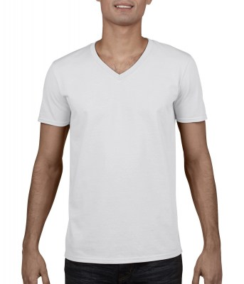 ΛΕΥΚΟ GILDAN Mens Softstyle® V-Neck T-Shirt