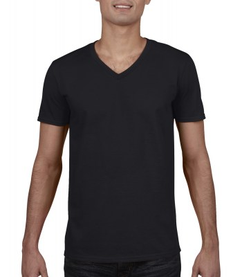 ΜΑΥΡΟ GILDAN Mens Softstyle® V-Neck T-Shirt