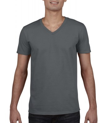 ΓΚΡΙ ΣΚΟΥΡΟ GILDAN Mens Softstyle® V-Neck T-Shirt