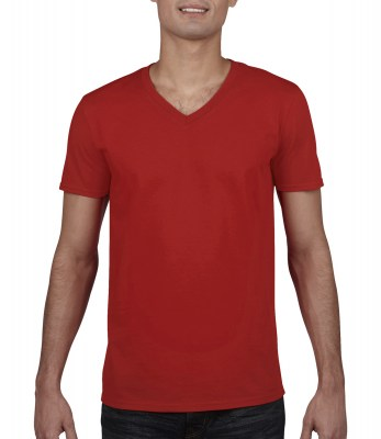 ΚΟΚΚΙΝΟ GILDAN Mens Softstyle® V-Neck T-Shirt