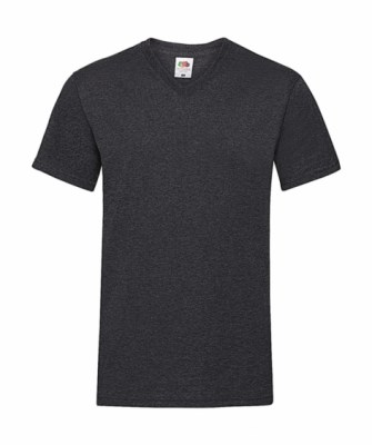 ΓΚΡΙ ΣΚΟΥΡΟ ΜΕΛΑΝΖΕ T-shirt FRUIT OF THE LOOM VALUEWEIGHT V-NECK T