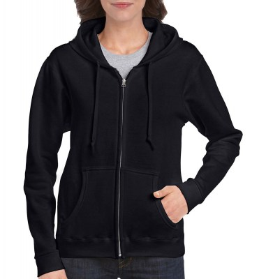 ΜΑΥΡΟ GILDAN Ladies Heavyweight Full Zip Hooded Sweat