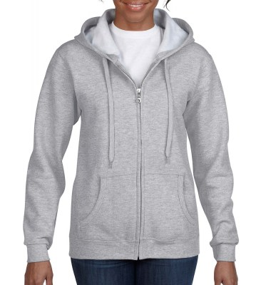 ΓΚΡΙ ΜΕΛΑΝΖΕ GILDAN Ladies Heavyweight Full Zip Hooded Sweat