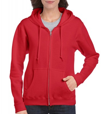 ΚΟΚΚΙΝΟ GILDAN Ladies Heavyweight Full Zip Hooded Sweat