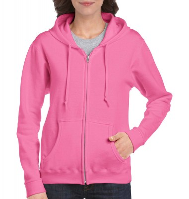 ΡΟΖ GILDAN Ladies Heavyweight Full Zip Hooded Sweat