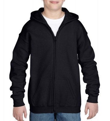 ΜΑΥΡΟ GILDAN Heavy Blend Youth Full Zip Hooded Sweat
