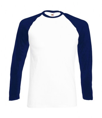 ΛΕΥΚΟ - ΜΠΛΕ T-shirt FRUIT OF  THE LOOM VALUEWEIGHT LONG SLEEVE  BASEBALL T 3XL