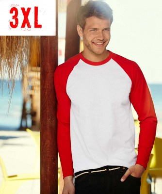 T-shirt FRUIT OF  THE LOOM VALUEWEIGHT LONG SLEEVE  BASEBALL T 3XL
