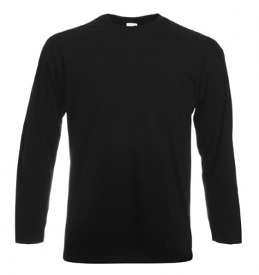 ΜΑΥΡΟ T-shirt FRUIT OF  THE LOOM VALUEWEIGHT LONG SLEEVE T