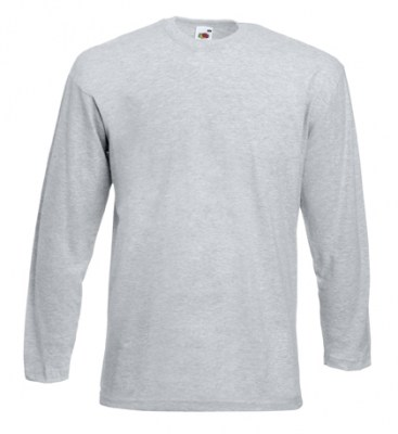 ΓΚΡΙ ΜΕΛΑΝΖΕ T-shirt FRUIT OF  THE LOOM VALUEWEIGHT LONG SLEEVE T