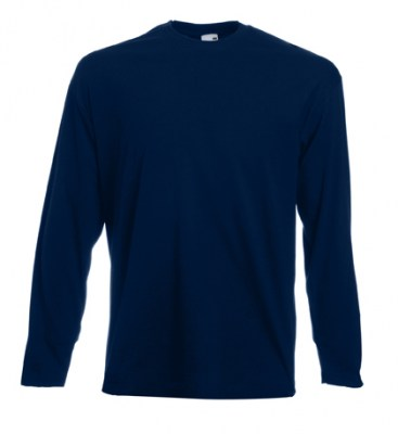 ΜΠΛΕ ΣΚΟΥΡΟ T-shirt FRUIT OF  THE LOOM VALUEWEIGHT LONG SLEEVE T