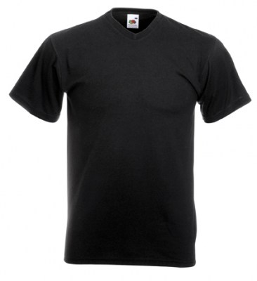 ΜΑΥΡΟ T-shirt FRUIT OF THE LOOM VALUEWEIGHT V-NECK T