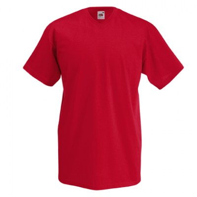 ΚΟΚΚΙΝΟ T-shirt FRUIT OF THE LOOM VALUEWEIGHT V-NECK T