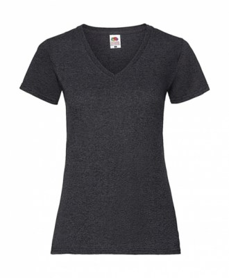 ΓΚΡΙ ΣΚΟΥΡΟ ΜΕΛΑΝΖΕ  FRUIT OF THE LOOM LADY-FIT VALUEWEIGHT V-NECK T