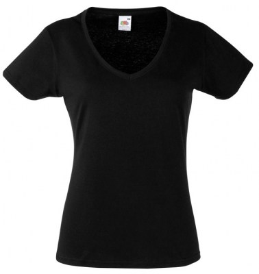 ΜΑΥΡΟ FRUIT OF THE LOOM LADY-FIT VALUEWEIGHT V-NECK T