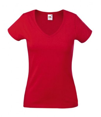 ΚΟΚΚΙΝΟ FRUIT OF THE LOOM LADY-FIT VALUEWEIGHT V-NECK T