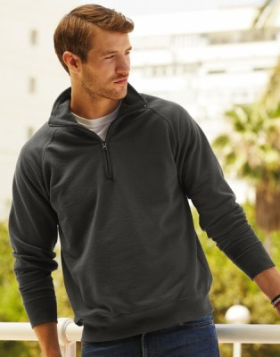 FRUIT OF THE LOOM Lightweight Zip Neck Sweat