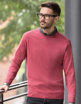 RUSSELL Men Crew Neck Knitted Pullover