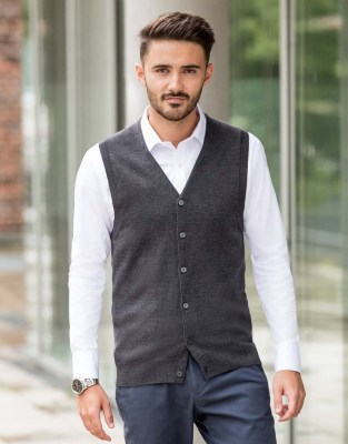 RUSSELL Men V-Neck Sleeveless Knitted Cardigan