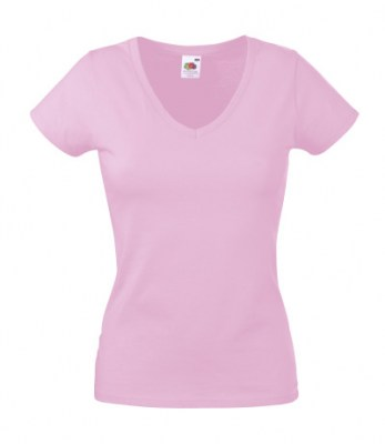 ΡΟΖ FRUIT OF THE LOOM LADY-FIT VALUEWEIGHT V-NECK T