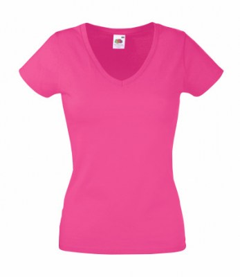 ΦΟΥΞΙΑ  FRUIT OF THE LOOM LADY-FIT VALUEWEIGHT V-NECK T