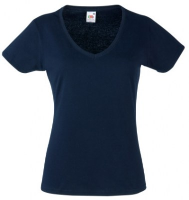 ΜΠΛΕ ΣΚΟΥΡΟ  FRUIT OF THE LOOM LADY-FIT VALUEWEIGHT V-NECK T